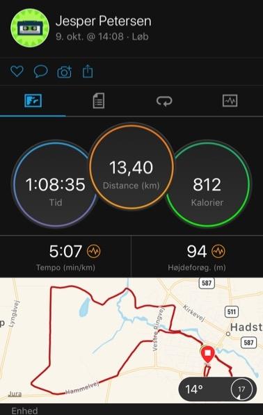 garmin connect 13 km løb